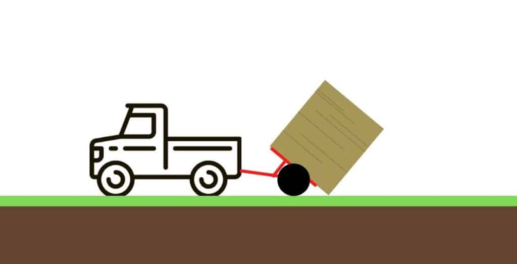 Moving a round bale without a tractor: using a trailer